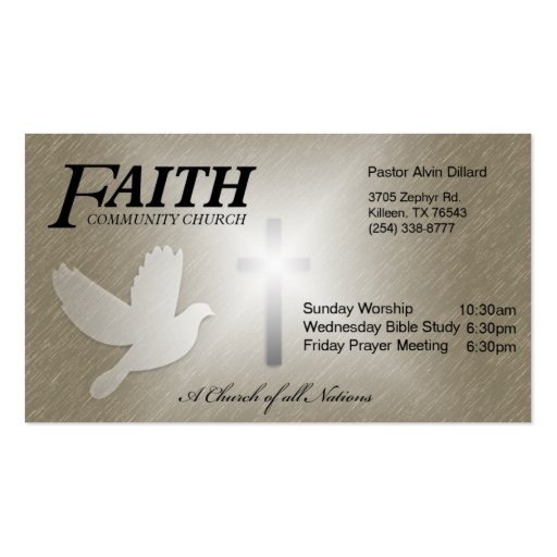 Faith community church business card zazzle for Church business card designs