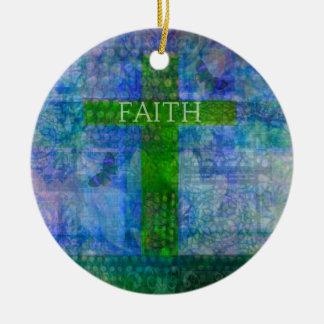 FAITH CROSS Meaningful Art Ceramic Ornament