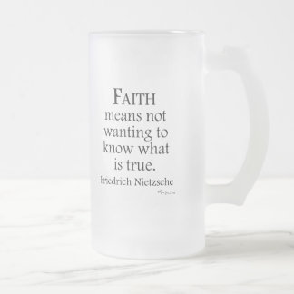 Faith Defined By Nietzsche Frosted Glass Beer Mug