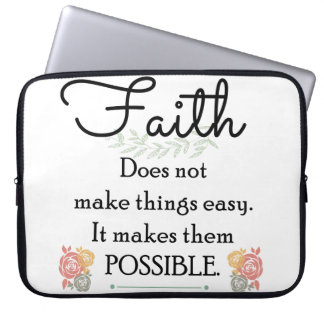 Faith does not make things easy, Christian Bible Laptop Sleeve