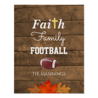Faith Family Football Personalized Rustic Sign