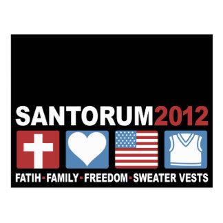 Faith, Family, Freedom and Sweater Vests Postcard