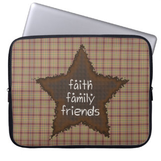 Faith Family Friends Rusty Star Laptop Sleeve