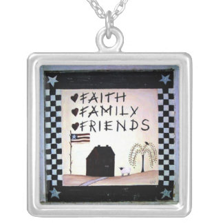 faith family friends silver plated necklace