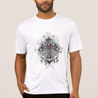 Faith Family Prayer Cross - Breast Cancer Tshirt