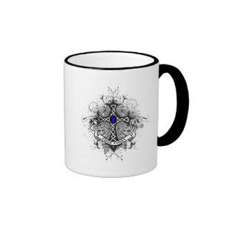 Faith Family Prayer Cross - Colon Cancer Coffee Mugs