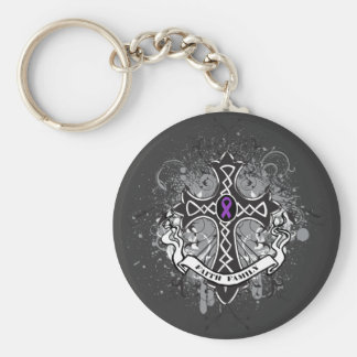 Faith Family Prayer Cross - Cystic Fibrosis Basic Round Button Keychain
