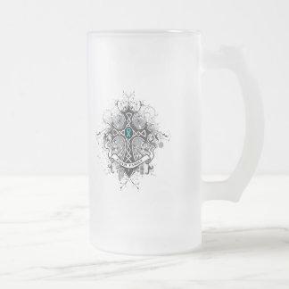 Faith Family Prayer Cross - Gynecologic Cancer 16 Oz Frosted Glass Beer Mug