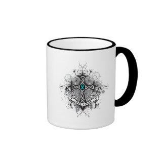 Faith Family Prayer Cross - Gynecologic Cancer Ringer Coffee Mug