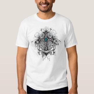 Faith Family Prayer Cross - Gynecologic Cancer Tshirt
