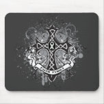 Faith Family Prayer Cross - Lung Cancer Mouse Pads
