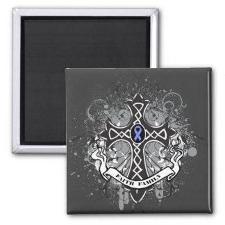 Faith Family Prayer Cross - Stomach Cancer 2 Inch Square Magnet