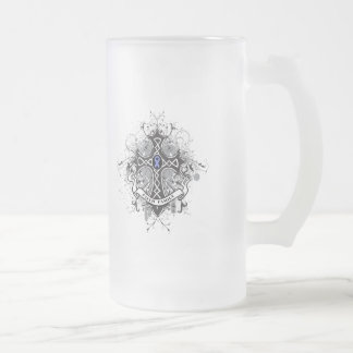 Faith Family Prayer Cross - Stomach Cancer 16 Oz Frosted Glass Beer Mug