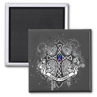 Faith Family Prayer Cross - Thyroid Cancer 2 Inch Square Magnet