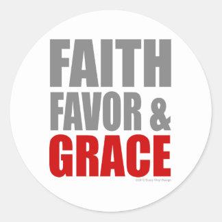 FAITH FAVOR & GRACE CLASSIC ROUND STICKER