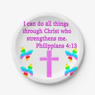 FAITH FILLED PHILIPPIANS 4:13 DESIGN 7 INCH PAPER PLATE