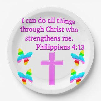 FAITH FILLED PHILIPPIANS 4:13 DESIGN 9 INCH PAPER PLATE