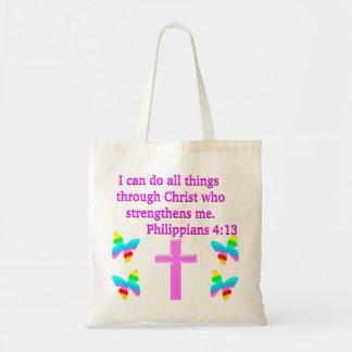 FAITH FILLED PHILIPPIANS 4:13 DESIGN TOTE BAG