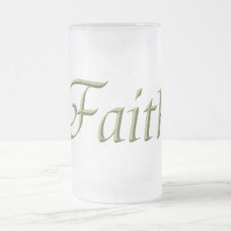 """Faith"" Frosted Glass Beer Mug"