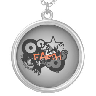 FAITH Graffiti Art Silver Plated Necklace