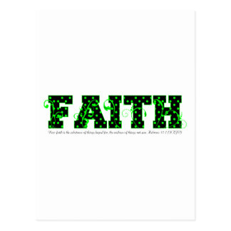 faith green polka dots postcard