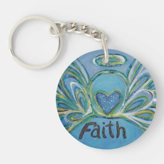 Faith Guardian Angel Word Custom Keychain