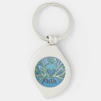 Faith Guardian Angel Word Custom Keychains
