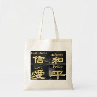 Faith Harmony Love and Peace Tote Bags