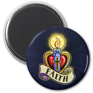 Faith Heart Candle Design 2 Inch Round Magnet