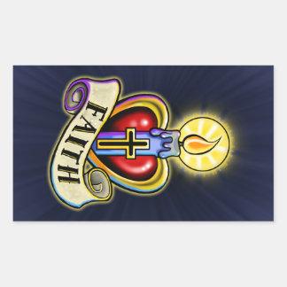 Faith Heart Candle Design Rectangular Sticker