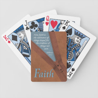 FAITH Hebrews 11:1 Bible Verse - Brown/Blue Zipper Bicycle Playing Cards