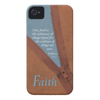 FAITH Hebrews 11:1 Bible Verse - Brown/Blue Zipper iPhone 4 Cover