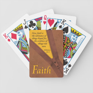 FAITH Hebrews 11:1 Bible Verse Yellow/Brown Zipper Bicycle Playing Cards