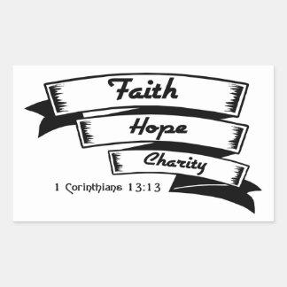 Faith hope and charity Christian design Rectangular Sticker