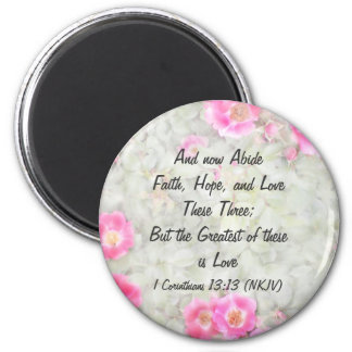Faith Hope and Love Carefree Spirit Rose Design Magnet