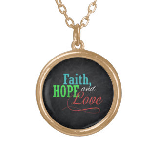 Faith Hope and Love Chalkboard Christmas Christian Round Pendant Necklace