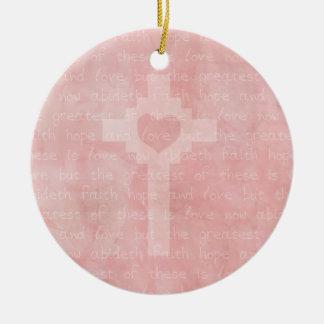 Faith Hope and Love Christian Cross Ceramic Ornament