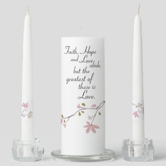 Faith Hope and Love Christian Wedding Unity Candle Set