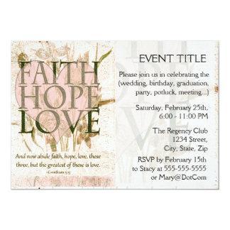 Faith, Hope and Love 5x7 Paper Invitation Card