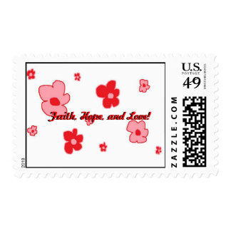 Faith, Hope, and Love! on white postage