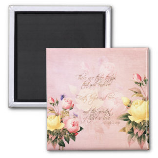 Faith Hope and Love Roses 2 Inch Square Magnet