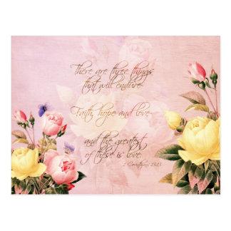 Faith Hope and Love Roses Postcards