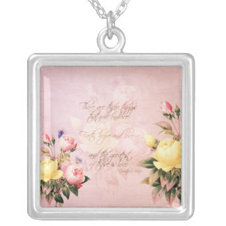 Faith Hope and Love Roses Silver Plated Necklace