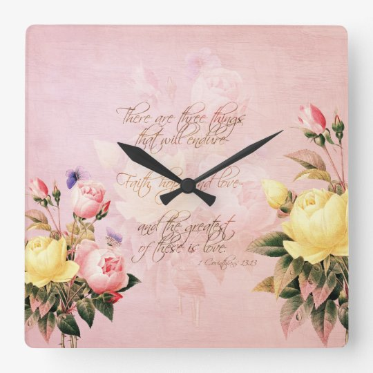 Faith Hope and Love Roses Square Wall Clock