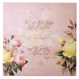 Faith Hope and Love Roses Ceramic Tile