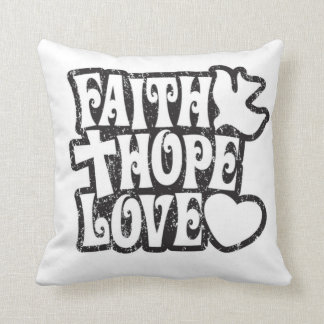 Faith, Hope and Love, sixties pop art pillow.