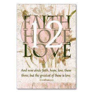 Faith, Hope and Love Table Card