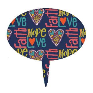 Faith Hope and Love Word Art Cake Topper