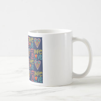 Faith Hope and Love Word Art Coffee Mug