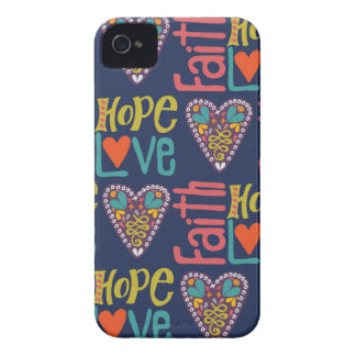 Faith Hope and Love Word Art iPhone 4 Case-Mate Case
